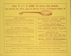 Advert for Germon's Banjo & Banjo Tuition, reverse side